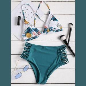 High Waist Bikini Set Tropical Print White & Teal